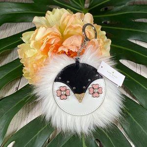 NWT! Kate Spade Penguin Frosty Furry Keychain